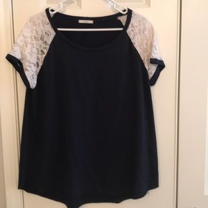 Easel Navy Blue Top